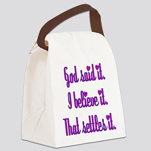 God Said It Purple Canvas Lunch Bag
