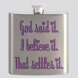 God Said It Purple Flask