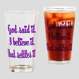God Said It Purple Drinking Glass