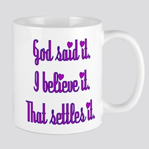 God Said It Purple Mug