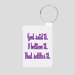God Said It Purple Aluminum Photo Keychain