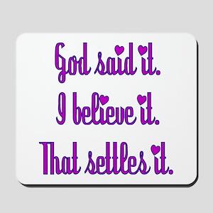 God Said It Purple Mousepad