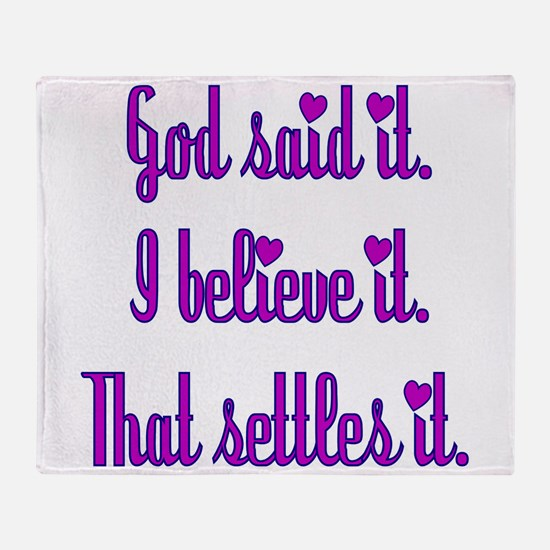 God Said It Purple Throw Blanket