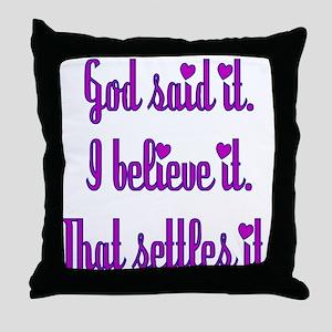 God Said It Purple Throw Pillow