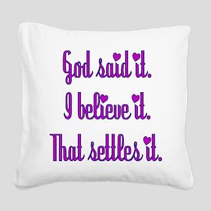 God Said It Purple Square Canvas Pillow