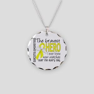 Bravest Hero I Knew Sarcoma Gifts Necklace Circle