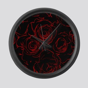 Red Roses Black Background Large Wall Clock