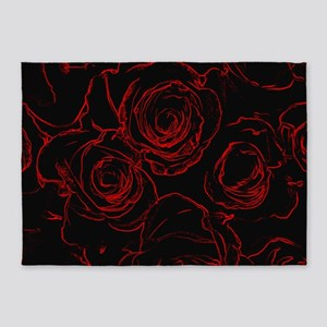 Red Roses Black Background 5'x7'Area Rug