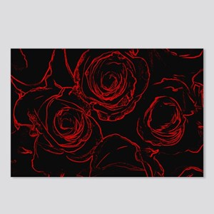 Red Roses Black Backgroun Postcards (Package of 8)