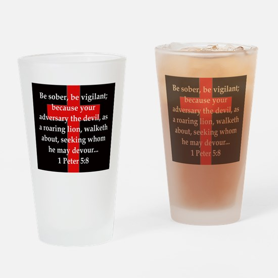 1 Peter 5-8 Drinking Glass