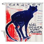 Vintage French Black Cat Shower Curtain