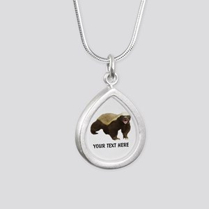 Honey Badger Customized Silver Teardrop Necklace