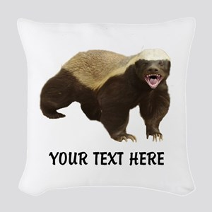 Honey Badger Customized Woven Throw Pillow