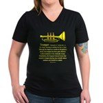 Trumpet Women's V-Neck Dark T-Shirt