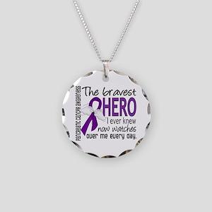Bravest Hero I Knew Pancreatic Cancer Necklace Cir