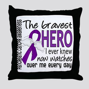 Bravest Hero I Knew Pancreatic Cancer Throw Pillow