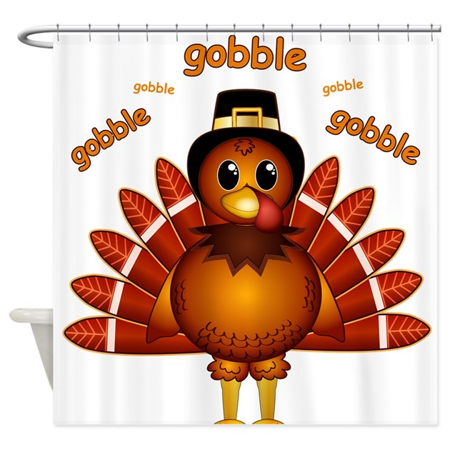 Gobble turkey shower curtain by whimsicaldesigns