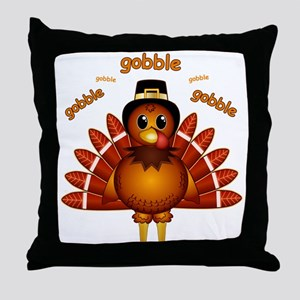 Gobble Gobble Turkey Throw Pillow