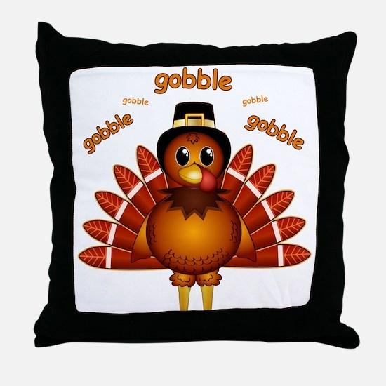 Gobble Gobble Turkey Throw Pillow