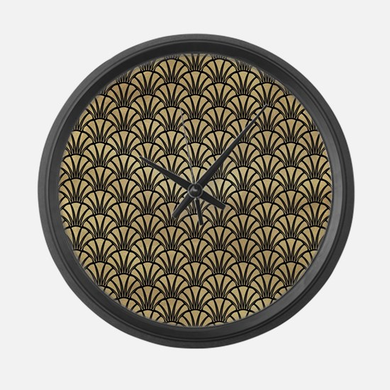 Gold and Black Fan Art Deco Pattern Large Wall Clo