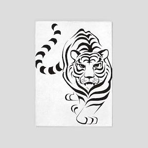 White Tiger Icon 5'x7'Area Rug