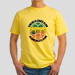 Ukrainian American Football Soccer Yellow T-Shirt