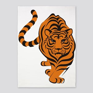 Orange Tiger Icon 5'x7'Area Rug
