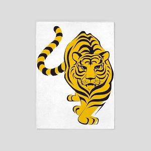Yellow Tiger Icon 5'x7'Area Rug