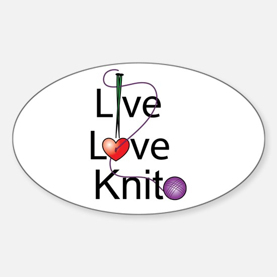 Live Love KNIT Oval Decal