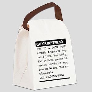 Cat or Boyfriend Canvas Lunch Bag