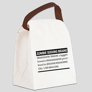 Zombie Seeking Brains Canvas Lunch Bag