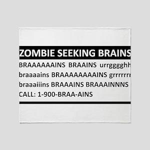 Zombie Seeking Brains Throw Blanket