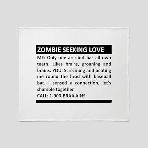 Zombie Seeking Love Throw Blanket