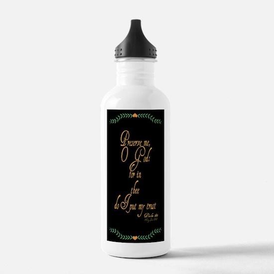 Psalms 16 1 Green Vines Water Bottle
