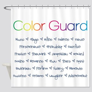 Color Guard Rainbow and Navy Blue Shower Curtain