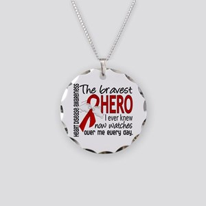 Bravest Hero I Knew Heart Disease Necklace Circle