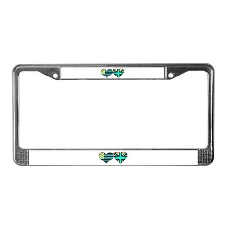 USA and UK Trendy Flag Art License Plate Frame