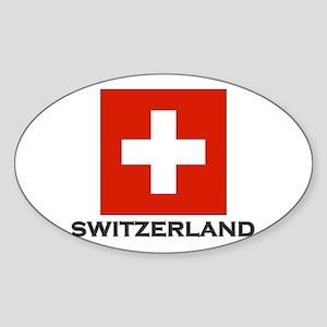 Switzerland Flag Stuff Oval Sticker