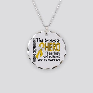 Bravest Hero I Knew Childhood Cancer Necklace Circ