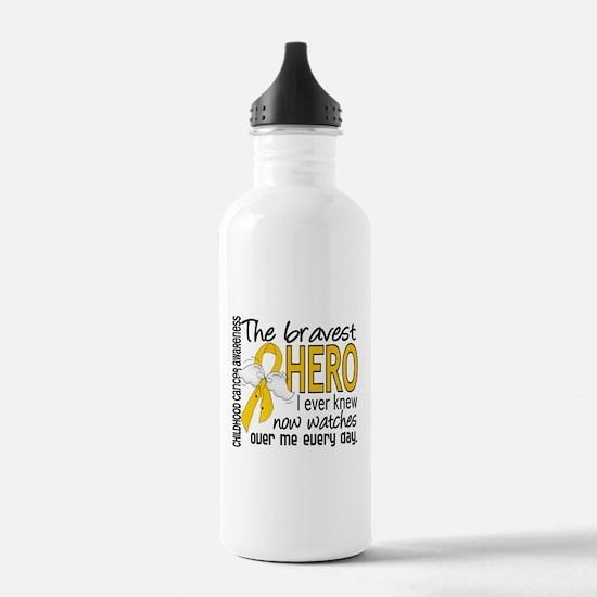 Bravest Hero I Knew Childhood Cancer Water Bottle