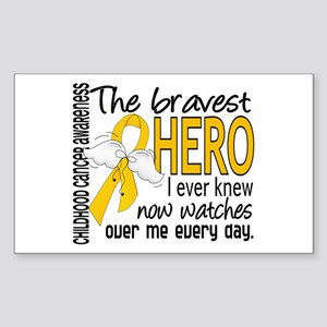 Bravest Hero I Knew Childhood Cancer Sticker (Rect