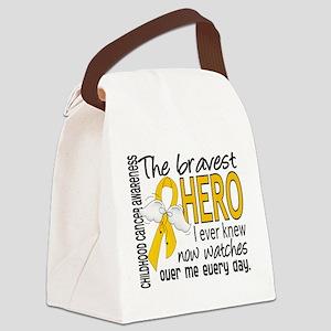Bravest Hero I Knew Childhood Cancer Canvas Lunch