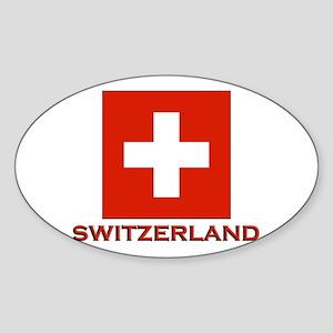 Switzerland Flag Merchandise Oval Sticker