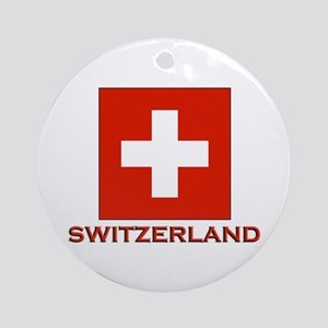 Switzerland Flag Merchandise Ornament (Round)