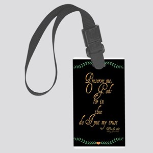 Psalms 16 1 Green Vines Large Luggage Tag