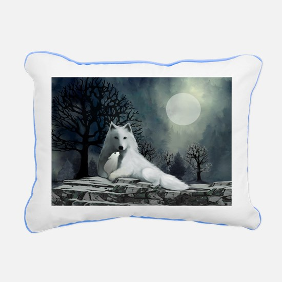 White Wolf and Pup Rectangular Canvas Pillow