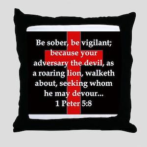 1 Peter 5-8 Throw Pillow