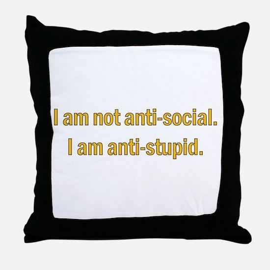 Anti-social Yellow Throw Pillow