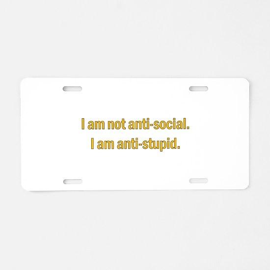 Anti-social Yellow Aluminum License Plate