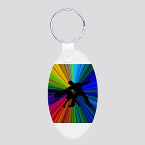 Dazzling Dance Silhouettes Aluminum Oval Keychain